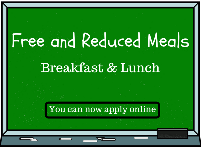 "Image of a chalkboard that says ""Free and Reduced Meals - Breakfast and Lunch"""