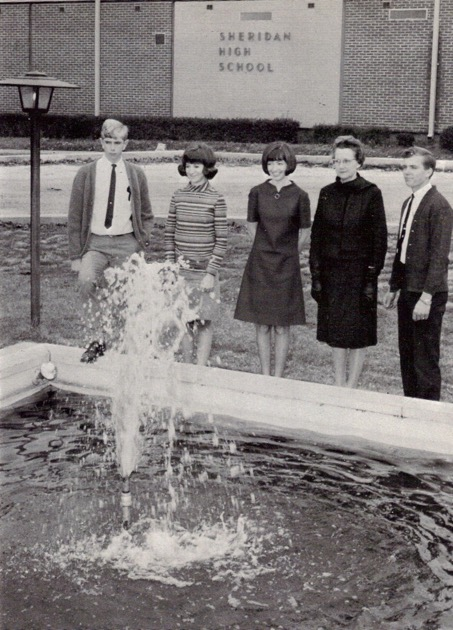 Sheridan High School Students in 1963 stand around fountain