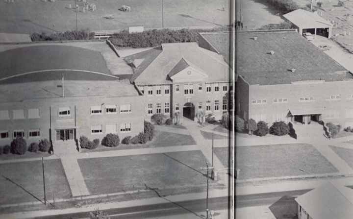 Old picture of aerial view of high school in 1960s