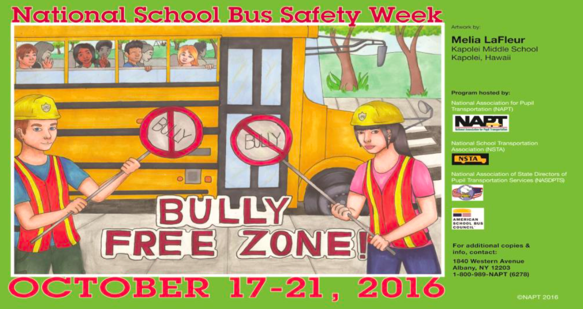 Infographic for national bus safety week, information in graphic can be found in article below