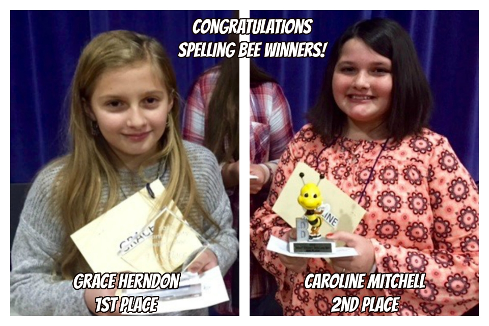 First and Second Place Grant County spelling bee winners pose with awards